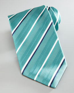 Brioni Striped Silk Tie, Aqua
