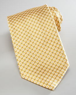 Brioni Mini-Flowers Silk Tie, Yellow