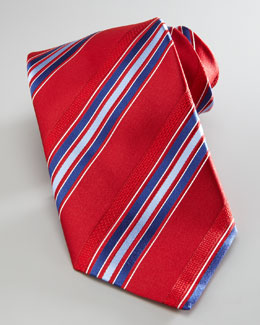 Brioni Striped Silk Tie, Red/Blue