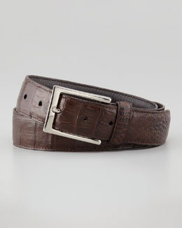 Santiago Gonzalez Crocodile Belt, Brown