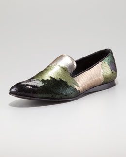 Prada Camouflage Sequin Evening Loafer