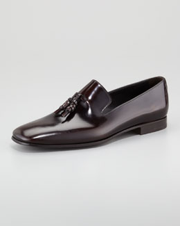 Prada Spazzolato Tassel Loafer, Brown