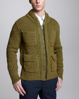 Burberry Prorsum Rib-Knit Bomber Sweater