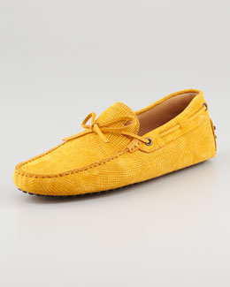 Tod's Stamped Tie Leather Driver, Yellow