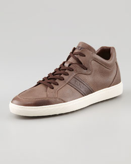 Tod's Pebbled Leather Sneaker, Brown