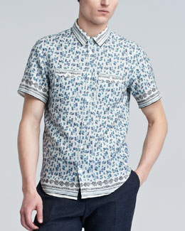 Burberry Prorsum Printed Short-Sleeve Shirt