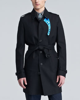 Burberry Prorsum Leather-Trim Cotton Trenchcoat