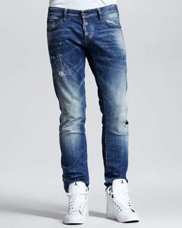 DSquared2 Splash-Print Faded Slim Jeans