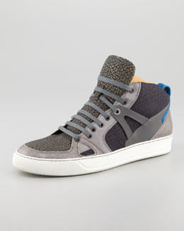 Lanvin Textured Colorblock Hi-Top Sneaker