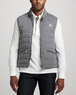 Moncler Cotton Puffer Vest, Gray
