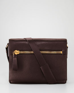 Tom Ford Flap Messenger with Zip, Brown