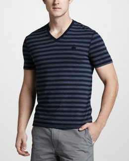 Lacoste Vintage-Wash Striped Tee, Eclipse Blue
