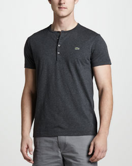 Lacoste Short-Sleeve Pima Henley, Granite Gray