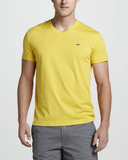 Lacoste V-Neck Tee, Starfruit Yellow