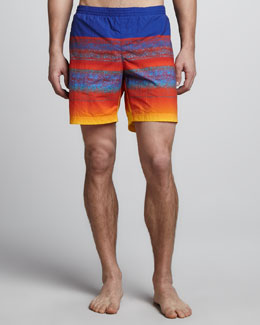 Lacoste Striped Swim Trunks