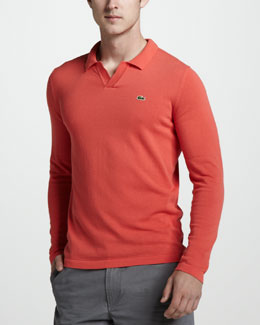 Lacoste Long-Sleeve Polo, Guava Orange