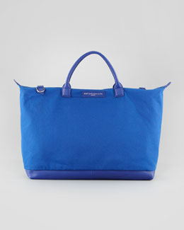 WANT Les Essentiels de la Vie Men's Large Canvas Zip Tote Bag, Blue