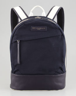 WANT Les Essentiels de la Vie Kastrup Canvas-Leather Backpack, Navy/White