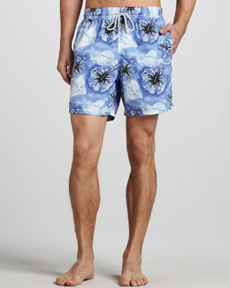 Vilebrequin Moorea Stingray/Hibiscus Swim Trunks