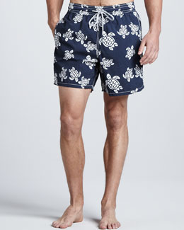 Vilebrequin Moorea Turtle-Print Swim Trunks, Navy