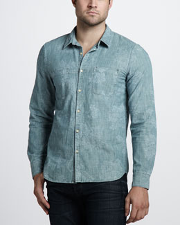 7 For All Mankind Laser Floral Sport Shirt
