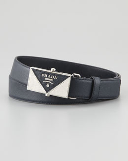 Prada Saffiano Plaque Belt, Blue