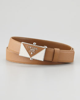Prada Saffiano Plaque Belt, Tan