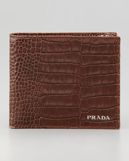 Prada Crocodile-Embossed Bi-Fold Wallet, Brown