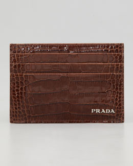 Prada Crocodile-Embossed Credit Card Case, Brown