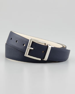 Prada Reversible Saffiano Belt, Blue/Gray