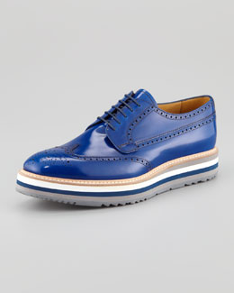 Prada Wing-Tip Oxford On Striped Micro Sole, Cobalt