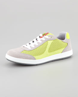 Prada Suede and Mesh Athletic Sneaker, Gray/Yellow
