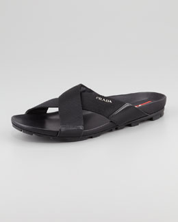 Prada Nylon Crisscross Slip-On Sandal, Black