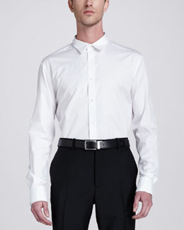 Alexander McQueen Double-Collar Woven Dress Shirt, White