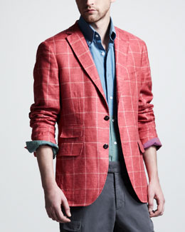 Michael Bastian Windowpane Check Blazer