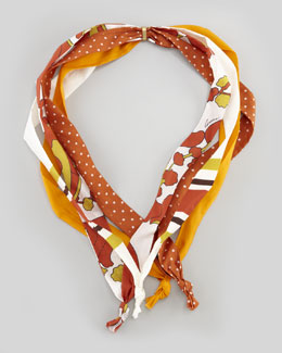 Gucci Four-String Multi-Print Collar Scarf