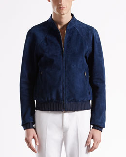 Gucci Unlined Suede Bomber Jacket