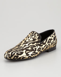 Jimmy Choo Sloane Leather Hair Slipper, Zebra