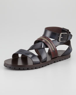 Belstaff Rumwell Zip-Strap Leather Sandal, Navy/Brown