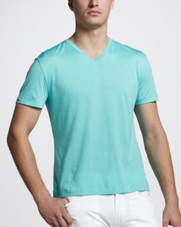 Ralph Lauren Black Label V-Neck Tee, Pale Aqua