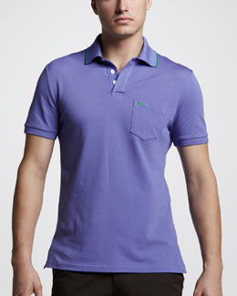 Ralph Lauren Black Label Mesh Pocket Polo, Tour Purple