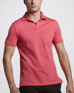 Ralph Lauren Black Label Mesh Pocket Polo, Spring Hibiscus