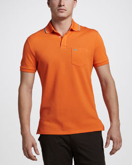 Ralph Lauren Black Label Mesh Pocket Polo, Lifeboat Orange