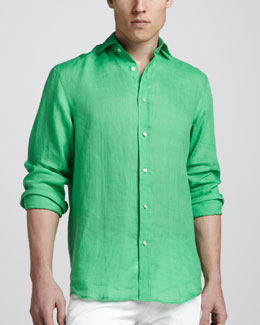 Ralph Lauren Black Label Linen Sport Shirt, Green