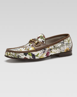 Gucci Roos Mini Infinity Flora Canvas Loafer