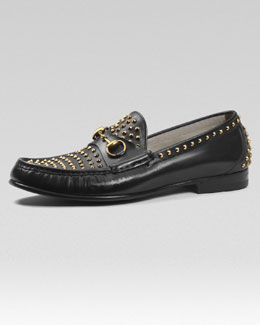 Gucci Roos Studded Leather Loafer
