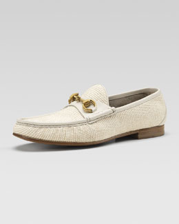 Gucci Straw Horsebit Loafer, White