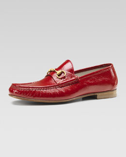 Gucci Leather Horsebit Loafer, Red