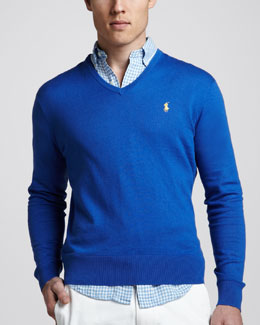 Polo Ralph Lauren V-Neck Cotton-Cashmere Sweater, New Iris Blue