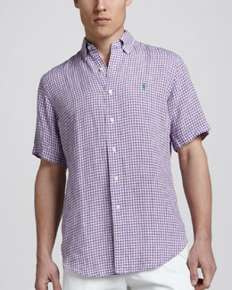 Polo Ralph Lauren Gingham Short-Sleeve Linen Shirt, Purple
